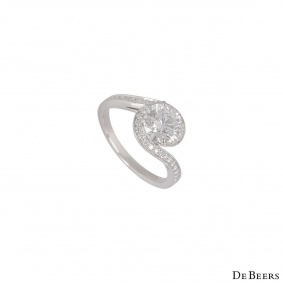 De Beers Platinum Diamond Caress Ring 1.24ct H/SI1